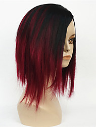 Women's Short Straight Bob wig Deep wine Mix Black Natural Synthetic Full Wigs
