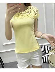 Damen Solide Einfach T-shirt,Rundhalsausschnitt Kurzarm Andere