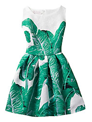 Girl's Cotton Fashion And Lovely  Green Banana Leaf  A-line Collect Waist Vest Printing Princess Dress