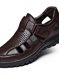 Men's Sandals Comfort Nappa Leather Spring Casual Black Brown Flat
