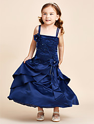 A-line Ankle Length Flower Girl Dress - Satin Spaghetti Straps with Beading Flower(s) Bandage