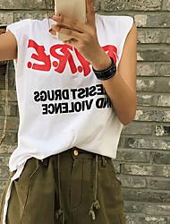 Feminino Malha Íntima FofoEstampado Letra Algodão Decote Redondo Sem Manga