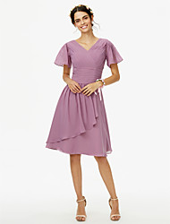 A-Line V-neck Knee Length Chiffon Bridesmaid Dress with Sash / Ribbon Criss Cross Ruching by LAN TING BRIDE®