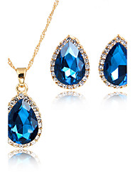 Juego de Joyas Colgantes Los sistemas nupciales de la joyería Cristal Circonita Moda Estilo lindo Euramerican Brillante Chapado en Oro