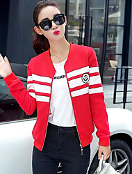 Women's Casual/Daily Simple Summer Jacket,Striped Round Neck Long Sleeve Short Cotton