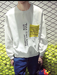 Men's Plus Size Casual/Daily Simple Sweatshirt 3D Print Fur Trim Round Neck Fleece Lining Micro-elastic Cotton