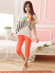 Pyjamas de dames, à la maison, confortables, manches courtes, pantalons, coton tricot, manchette, pyjamas