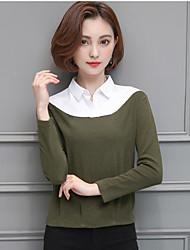 Feminino Camiseta Casual SensualSólido Outros Colarinho Chinês Manga Longa