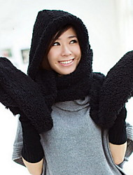Ski Hat Scarf Gloves Hats Integrated Lamb Fur Women's Korea Scarves Shawl Winter Lady's Valentine Christmas Gift Lovers Thicker Warmth Floppy Hat
