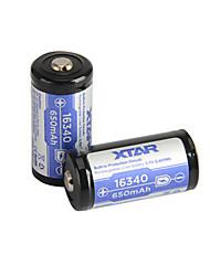 2pcs XTAR 16340 650mAh 3.6V 2.405wh литий-ионный аккумулятор