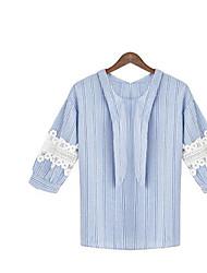 Damen Gestreift Einfach Alltag T-shirt,Rundhalsausschnitt 3/4 Ärmel Baumwolle