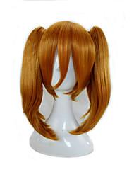 Mujer Pelucas sintéticas Sin Tapa Medio Liso Naranja Con coleta Peluca de cosplay Las pelucas del traje