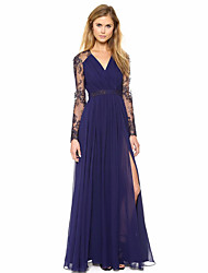 Women's Simple Swing Dress,Solid V Neck Maxi Long Sleeves Chiffon Lace Summer Mid Rise Micro-elastic Thin