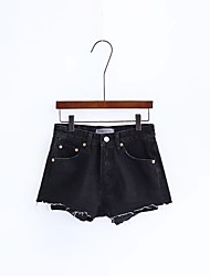 Feminino Moda de Rua Cintura Média Micro-Elástica Shorts Calças,Solto Cor Única,Côr Pura Taxas