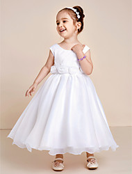 Princess Tea Length Flower Girl Dress - Organza Jewel with Bow(s) Flower(s) Flower Pleats Gore