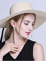 Women's Foldable Straw Sun Hats with Bowknot Holidays Wide Brim Hats