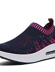 Для женщин Спортивная обувь Тюль Лето Осень Для прогулок На платформе Черный Темно-синий Серый Пурпурный 9,5 - 12 см