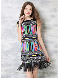Women's Going out Party Holiday Vintage Sheath Dress,Print Round Neck Above Knee Sleeveless Others Summer Low Rise Inelastic Medium