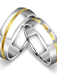 2PCS Couple's Rings Band Rings Vintage Simple  Cubic Zirconia Titanium Steel Jewelry For Wedding Party Anniversary