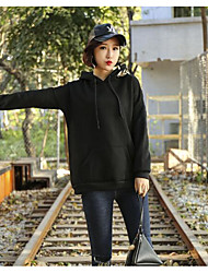 Women's Casual/Daily Simple Fall T-shirt,Solid Hooded Long Sleeve Cotton Medium