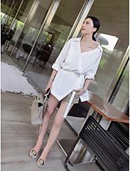 Feminino Camisa Calça Conjuntos Trabalho Simples Verão,Cor Única Decote V