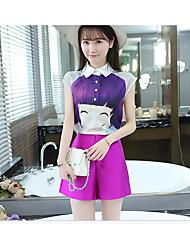 Feminino Japonesa/Curta Calça Conjuntos Verão Colarinho Chinês Manga Curta