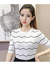 Women's Daily Casual Simple T-shirt,Lines / Waves Round Neck Half Sleeve Knitwear