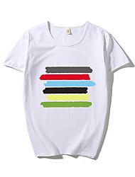 Tee-shirt Homme,Couleur Pleine Rayé Bureau/Carrière Athlétique Décontracté simple Chic de Rue Actif Eté Manches Courtes Col ArrondiCoton