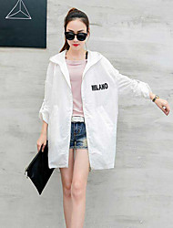 Women's Going out Simple Spring Summer Trench Coat,Letter Solid Hooded Long Sleeve Long Rayon