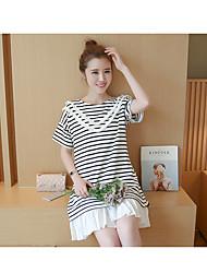 Women's Sports A Line Dress,Striped Round Neck Knee-length Short Sleeve Cotton Summer Low Rise Micro-elastic Medium