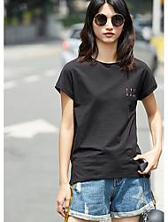 Feminino Camiseta Diário Casual SimplesEstampado Náilon Chinês Viscose Decote Redondo Manga Curta