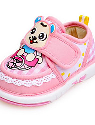 Baby Flats First Walkers Fabric Spring Fall Casual Outdoor Walking First Walkers Magic Tape Low Heel Fuchsia Blushing Pink Light Blue Flat