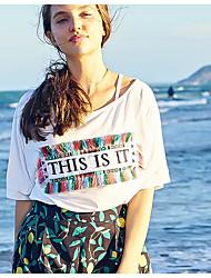 Damen Zitate & Sprüche Einfach Alltag T-shirt,Rundhalsausschnitt ½ Länge Ärmel Baumwolle
