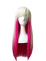 Synthetic Wigs Cosplay Wig Long Straight White/Pink Costume Capless Wigs