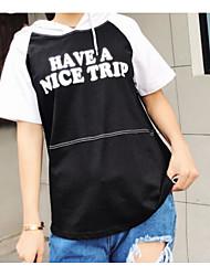 Damen Einfarbig Buchstabe Street Schick Alltag Normal T-shirt,Mit Kapuze Kurzarm Baumwolle