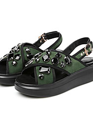 Women's Sandals Creepers Comfort Pigskin Leather Nappa Leather Spring Casual Screen Color Army Green Gray Flat