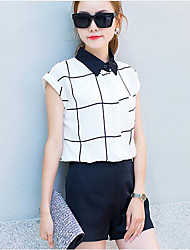 Mujer Verano Camisas Falda Trajes,Escote Chino Manga Corta Microelástico