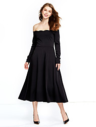 Women's Off The Shoulder Casual/Daily Vintage / Street chic Sheath Dress,Solid Boat Neck Midi Long Sleeve Red / Black Cotton / Nylon Fall