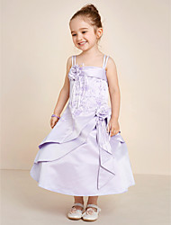 A-line Tea Length Flower Girl Dress - Satin Spaghetti Straps with Beading Satin Flower Embroidery