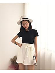 Tee-shirt Femme,Couleur Pleine Décontracté / Quotidien simple Manches Courtes Col Arrondi Spandex