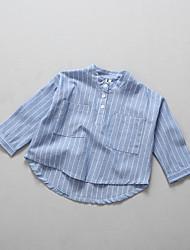 Fashion Stripe Stripes Shirt,Cotton Cotton Blend Summer Spring Fall Long Sleeve Regular