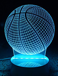 3D Acrylic Basketball LED Lamp Discoloration Globe Night Lights for Kids Room Decorative Lamps Remote Control USB Lights Sports Lamps for Family
