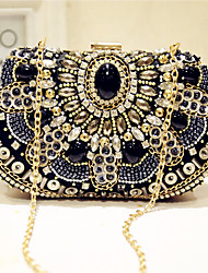 Women Evening Bag Silk All Seasons Event/Party Party & Evening Club Baguette Bead Magnetic Black