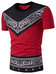 Men's Round Neck Ethnic Customs Printing Short Sleeved T-Shirt Cotton Spandex Medium/Plus Size Casual/Daily Simple