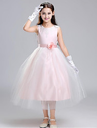 Ball Gown Tea Length Flower Girl Dress - Organza with Flower