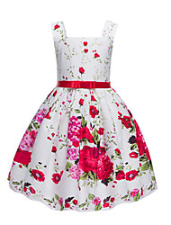 Girl's Fashion Floral Dress,Cotton Summer Short Sleeve