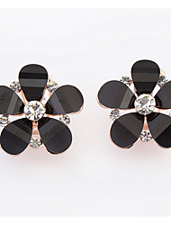 Euramerican Fashionable Sweet  Flower Rhinestone Black Stud Earrings  Lady  Daily Stud  Earrings Gift Jewelry