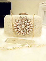 Women Evening Bag PU All Seasons Event/Party Party & Evening Club Baguette Sparkling Glitter Magnetic Champagne