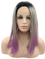 16 Inch BEAUTY Hair Synthetic Short Straight Wig High Temperature Fiber Women Wig Black Ombre Gray/Purple Lace Front Wig