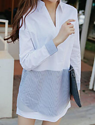 Women's Daily Simple Shirt,Solid Stand Long Sleeve Cotton